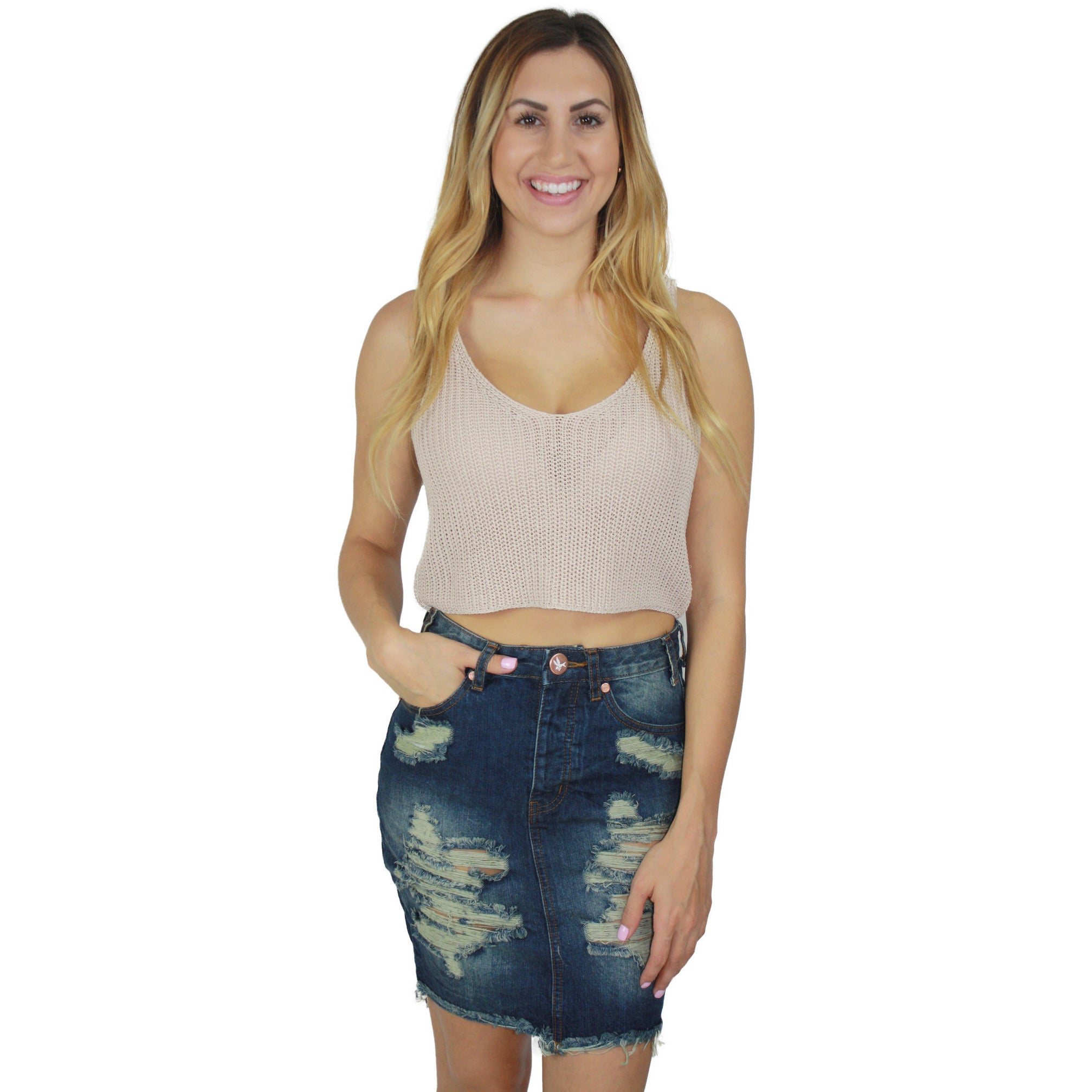 Ramie Knit Crop Top in Khaki