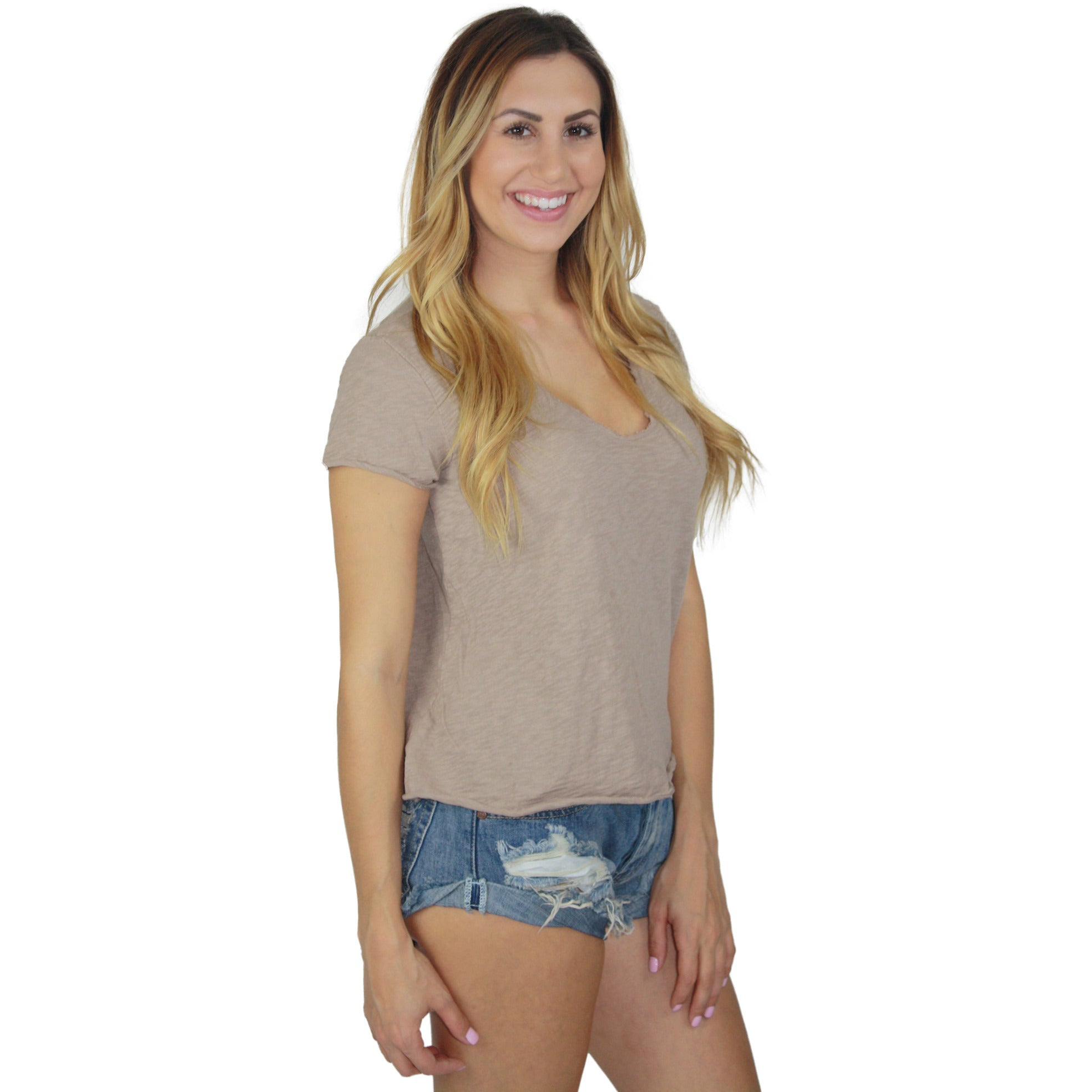 Calissa V Neck Short Sleeve Top in Taupe