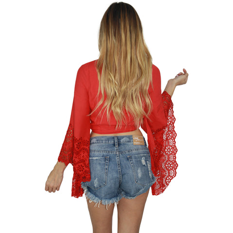 Solei Crop Top in Red
