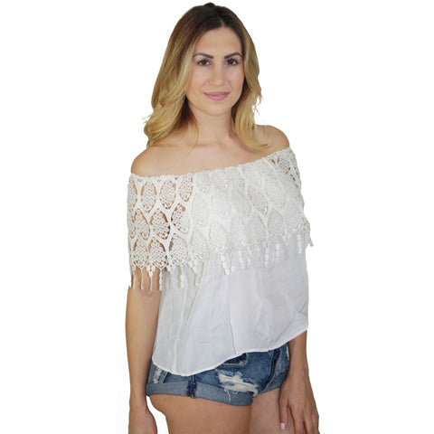 Ibiza Lace Tube Top in Blanc