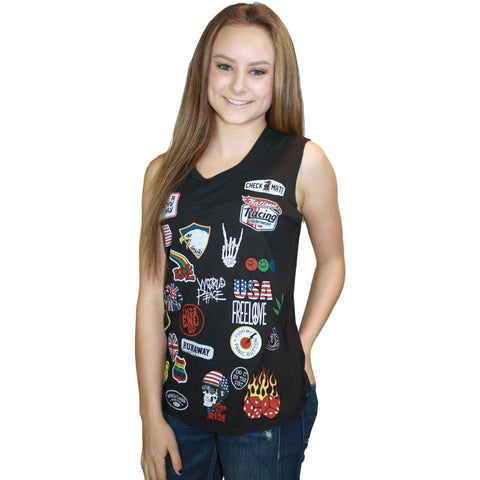 Kel Scoop Neck Muscle Tank Rock Patches in Oynx