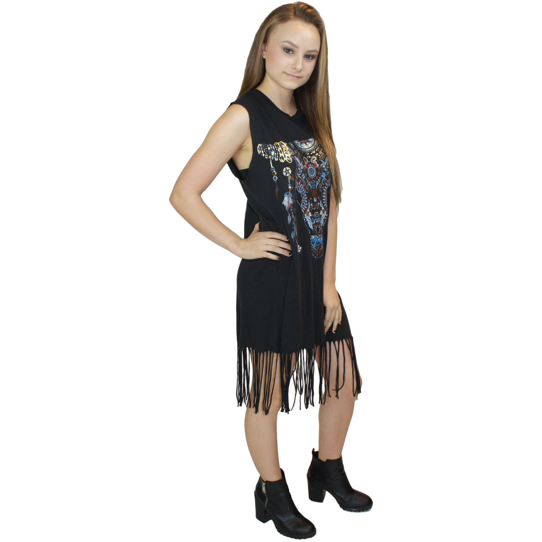 Gin Sleeveless Fringe Dress Patterned Bull