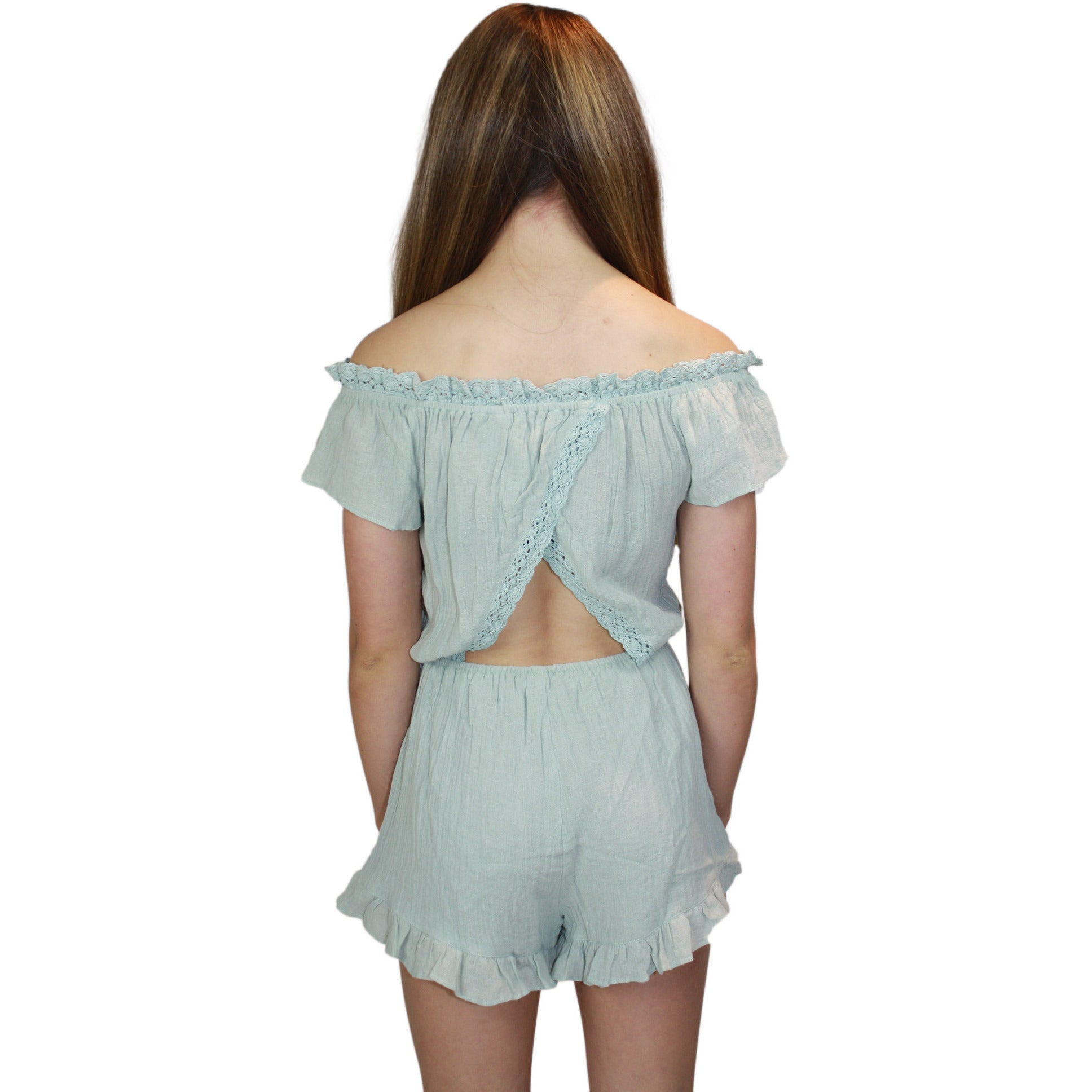Sage Ruffle Off Shoulder Romper