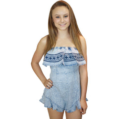Allen Ruffle Romper in Light Denim