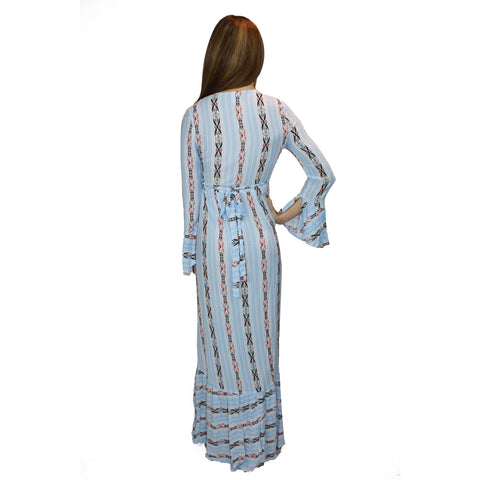 Dianella Maxi Dress in Blue Aztec