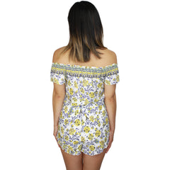 Rachelle Off Shoulder Printed Romper in Yellow