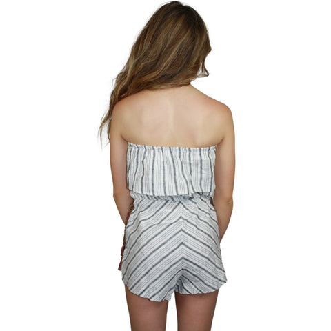 Riley Side Tie Striped Romper
