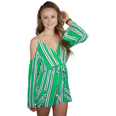 Colline Stripe Romper in Sea Green