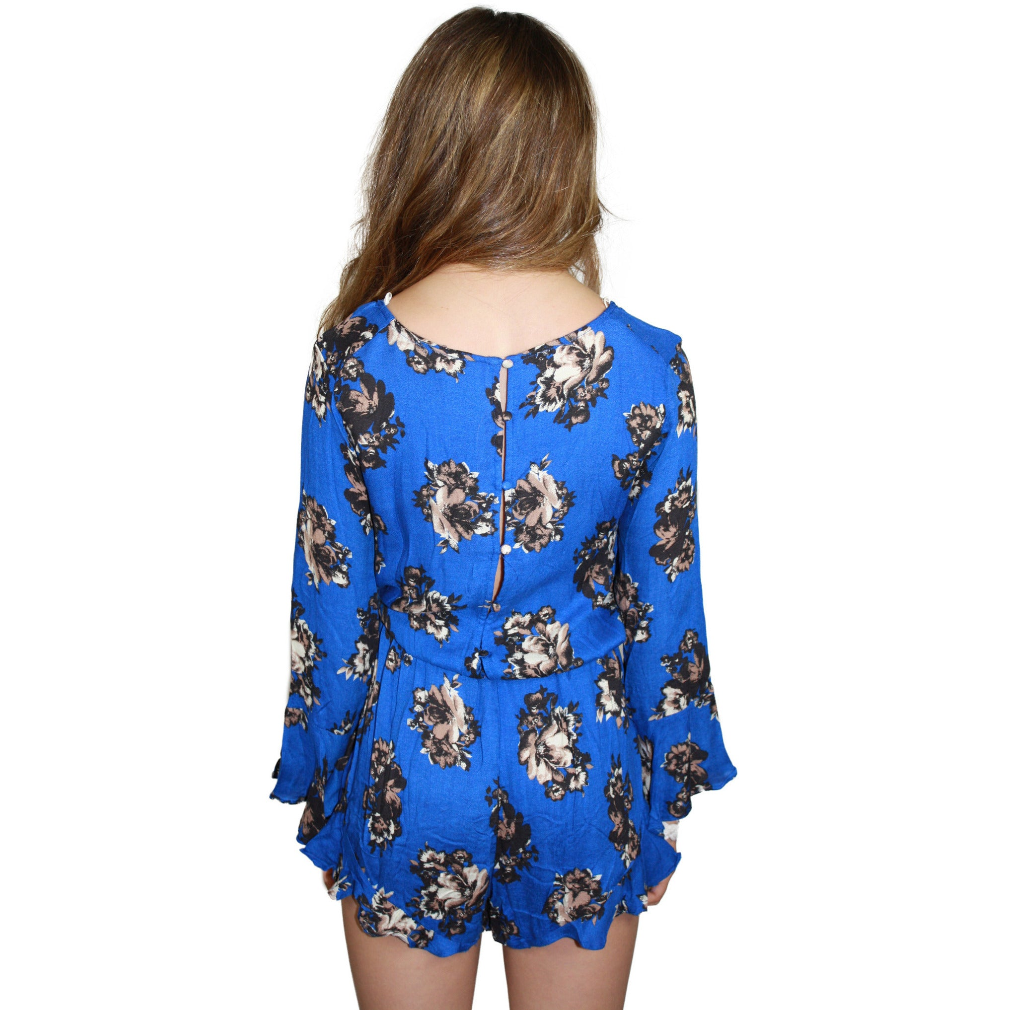 Sepia Floral Romper in Royal Blue