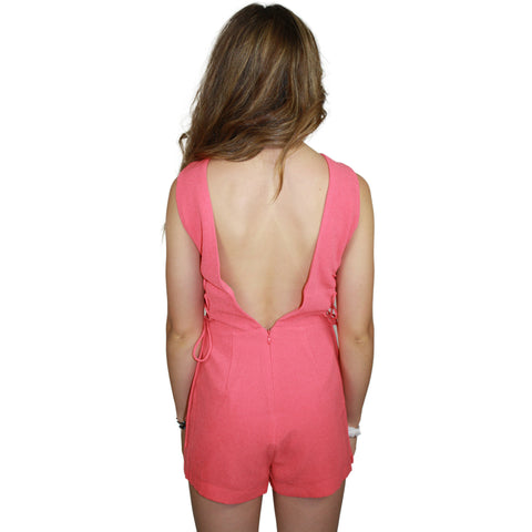 Sleeveless Woven Romper with Lace Sides in Pop Coral
