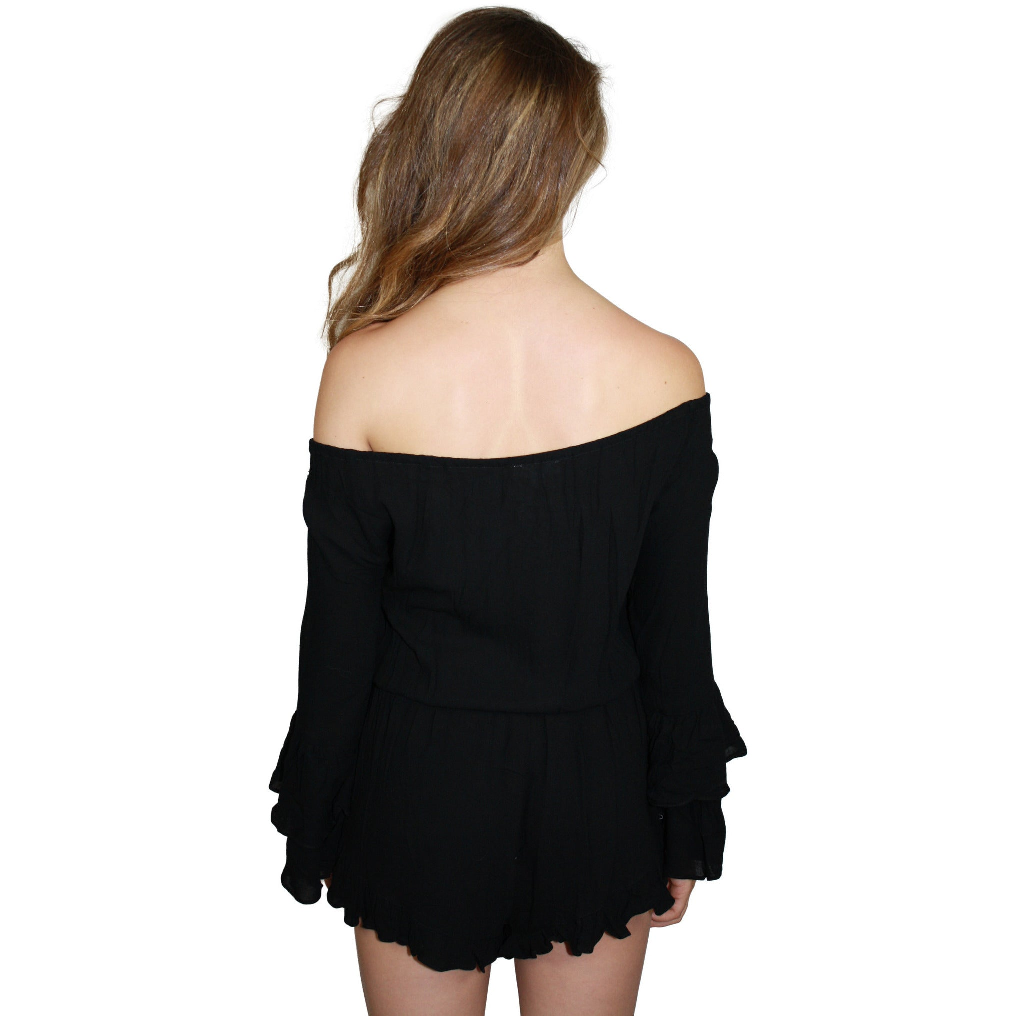 Tayler Ruffle Off Shoulder Button Up Romper in Black