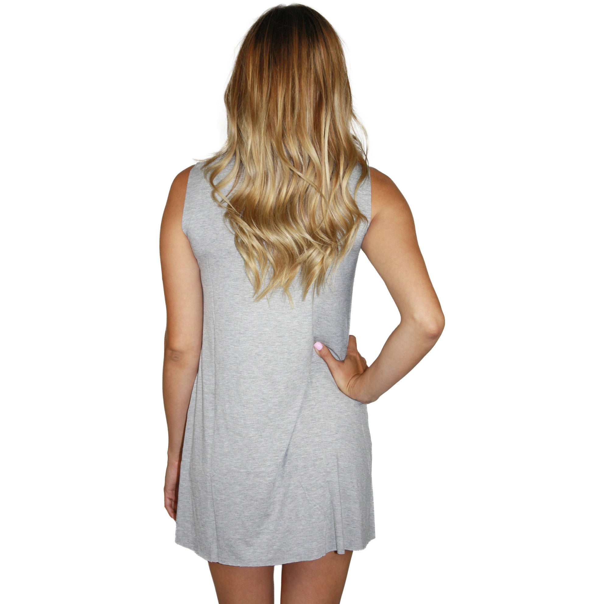 Deanna Foil Show Love Sleeveless Dress in Heather