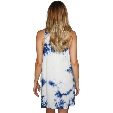 Sleeveless Shirt Dress in Indigo Tie Dye (FINAL SALE)