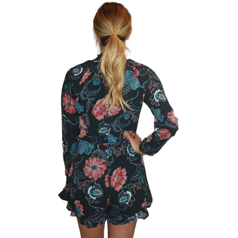 Eva Romper in Dark Green Floral