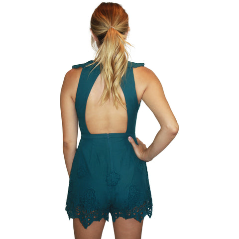 Farah Romper in Deep Emerald
