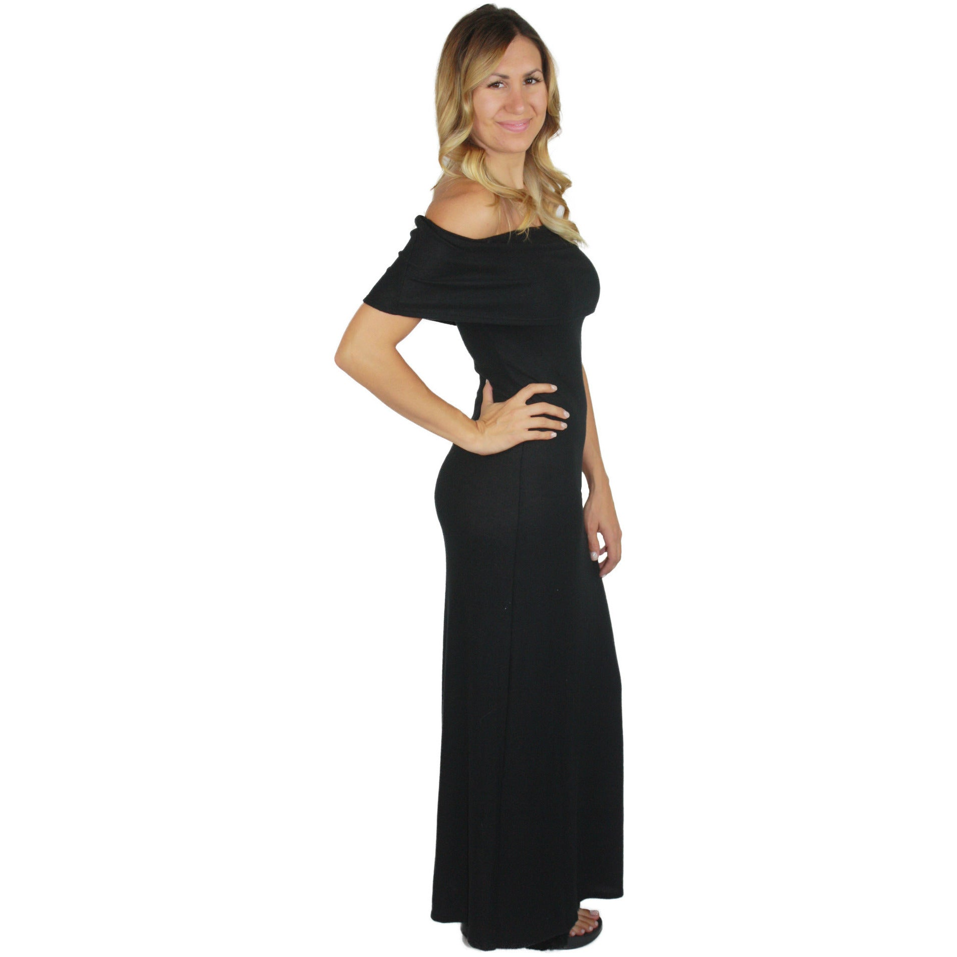 Foldover Off Shoulder Maxi Dress in Black