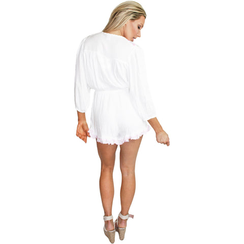 Tamsin Embroidered Ruffle Playsuit