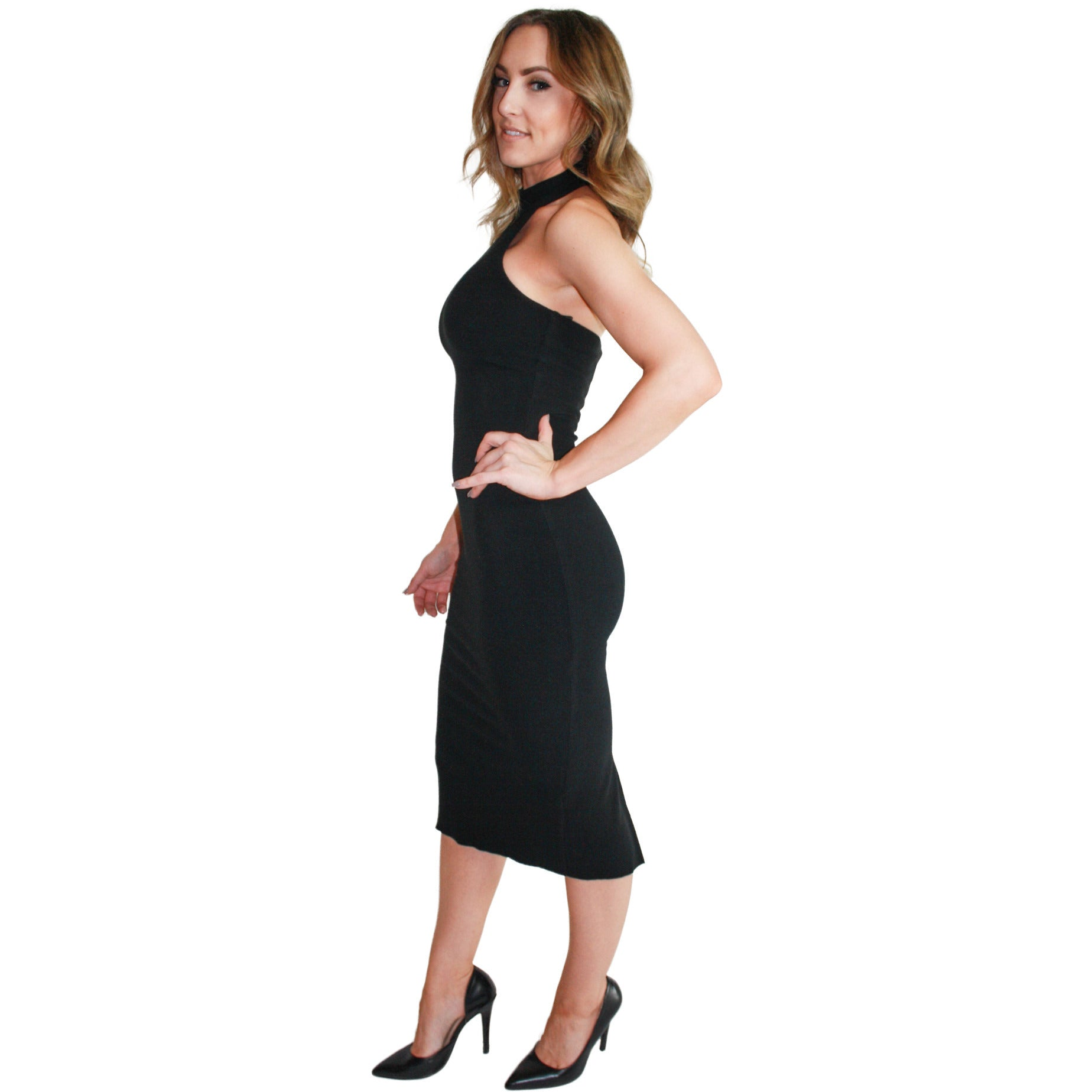 Jamie Turtleneck Halter Dress in Black