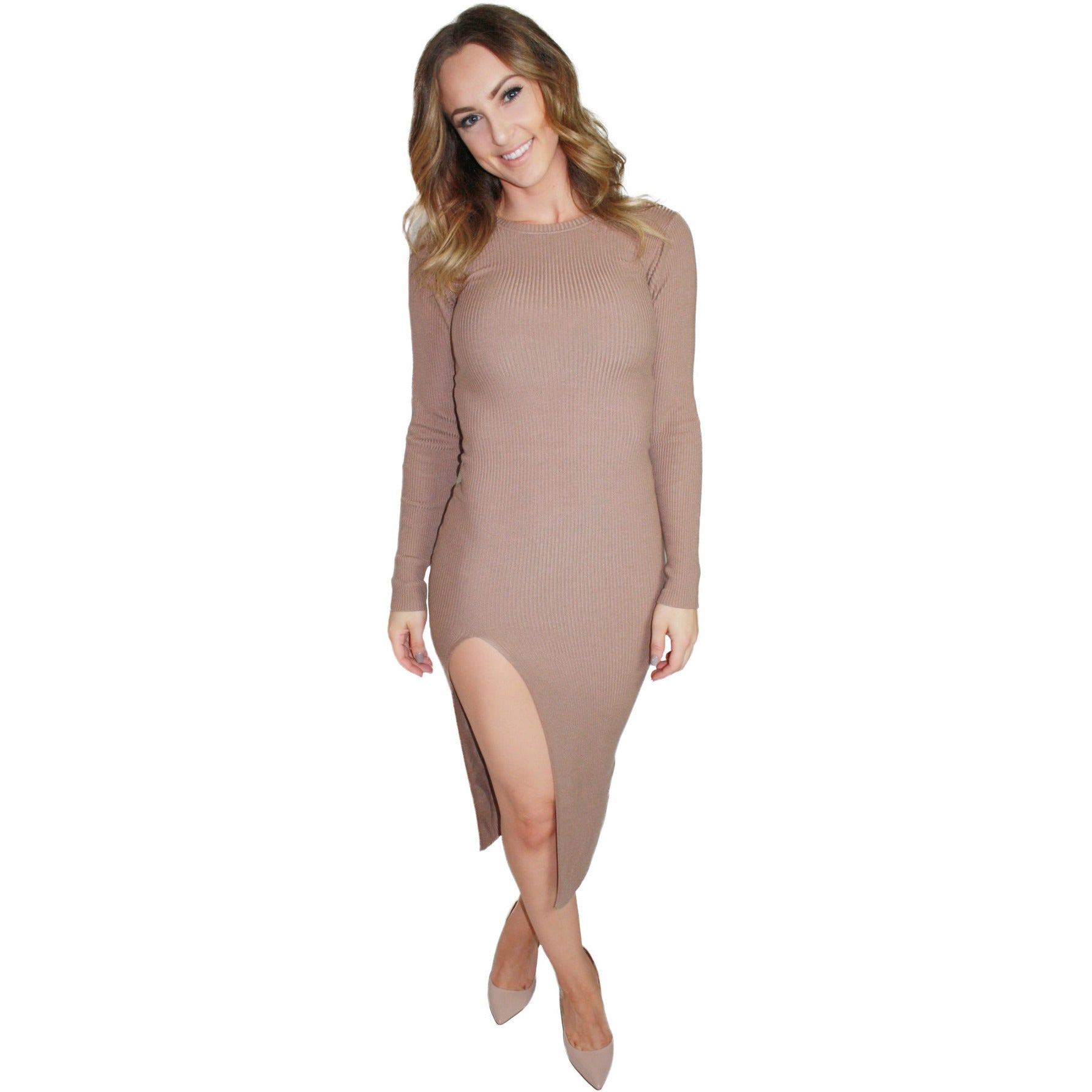 Kimber Side Slit Sweater Dress in Mocha