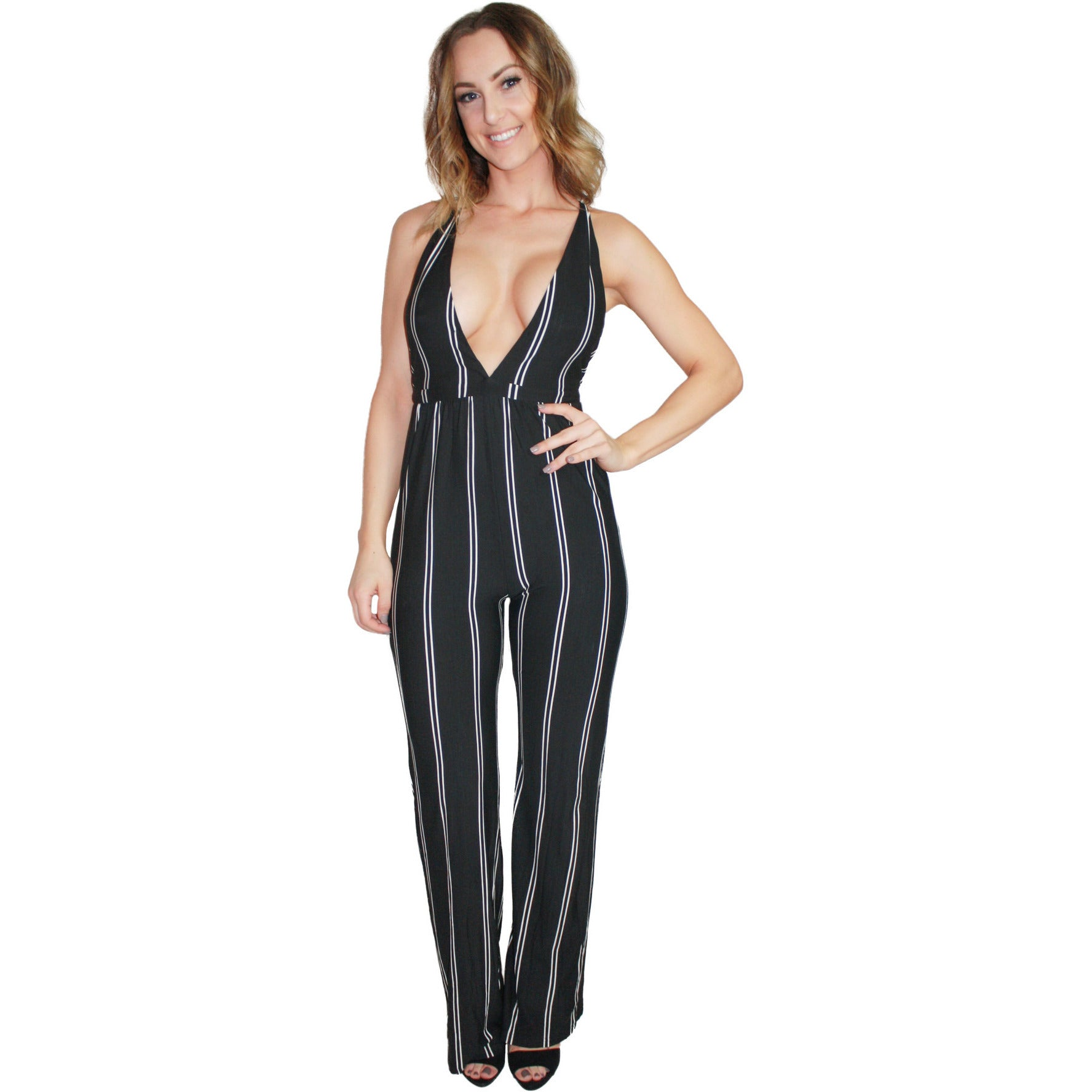 Deep V Multiway Jumpsuit in Black Stripe