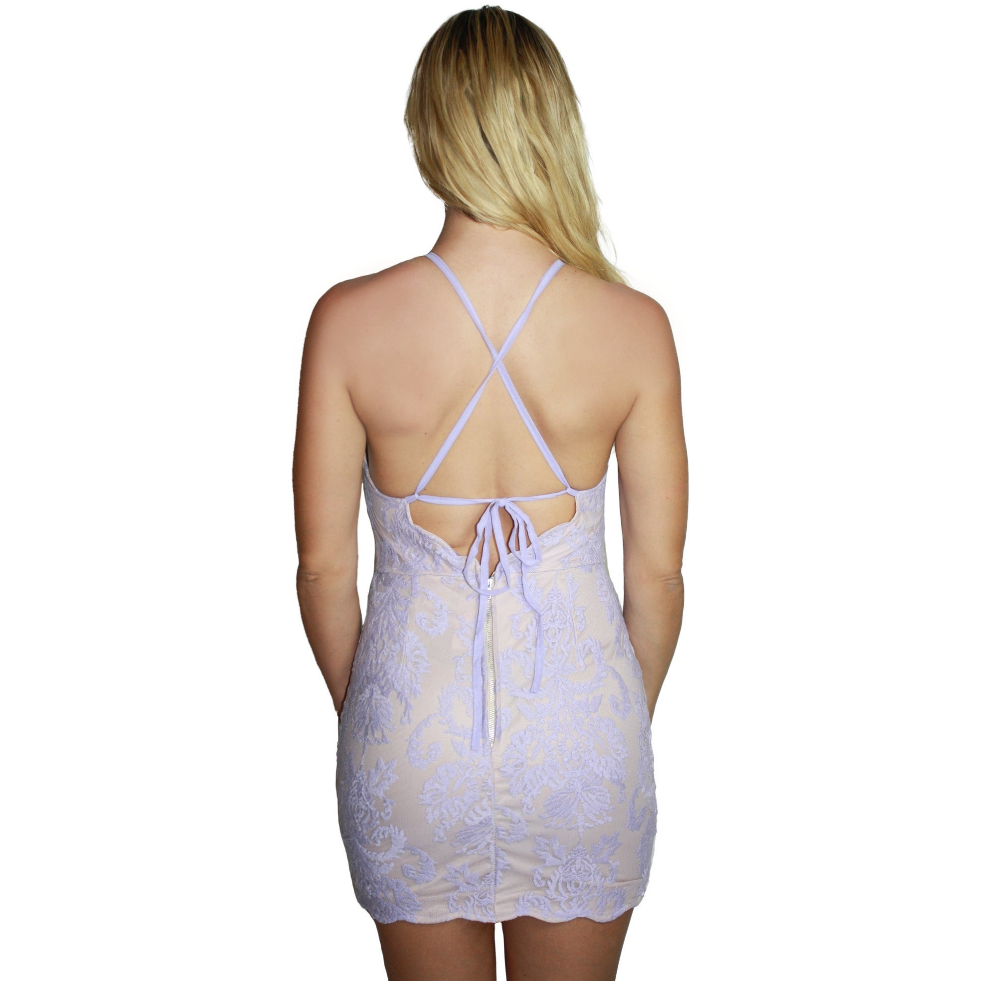 Lace Overlay Ribbon Dress in Lilac Lace