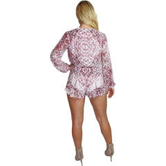 Snakeskin Lace Up Romper in Pink Python