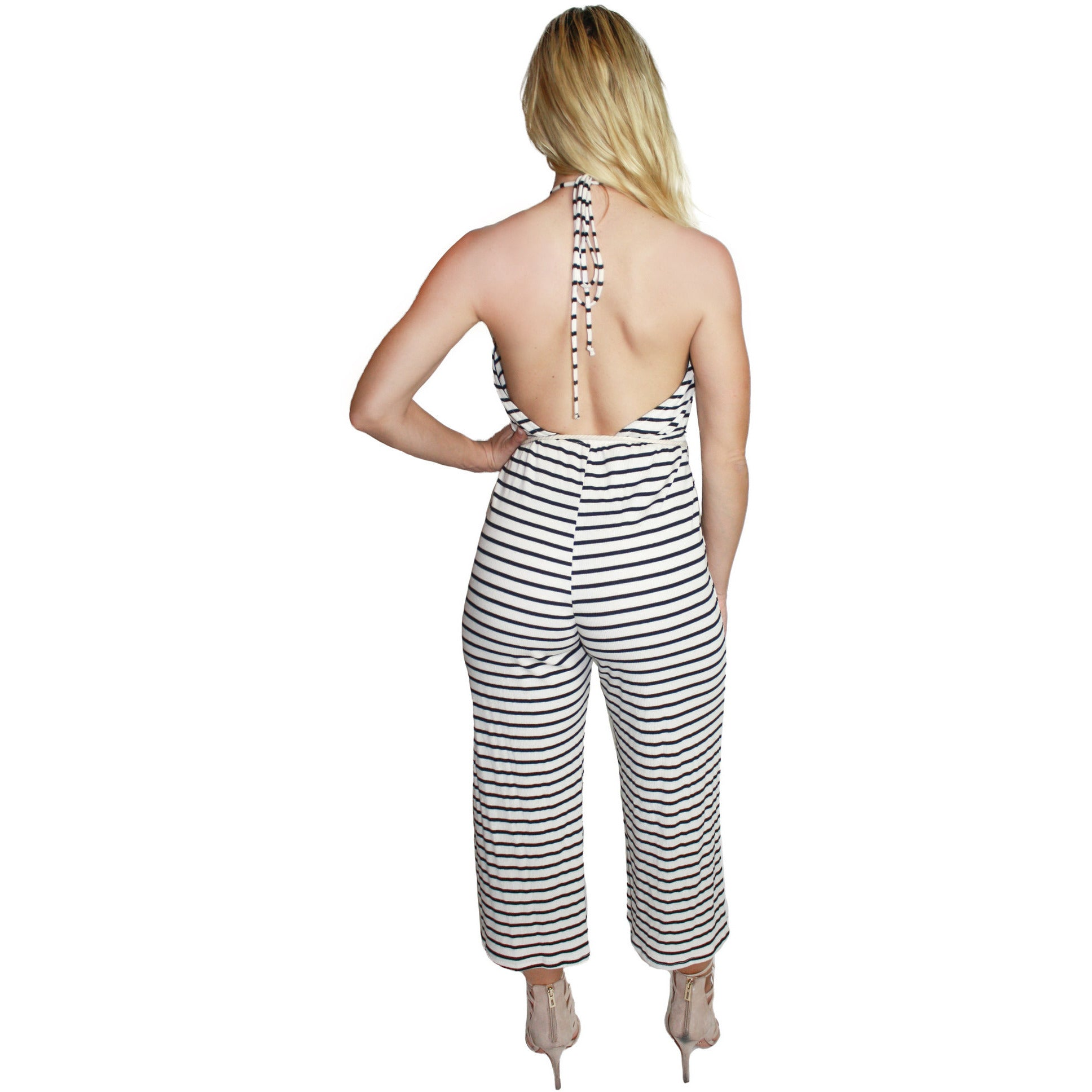Nautical Rope Tie Midi Jumpsuit in Black Stripe
