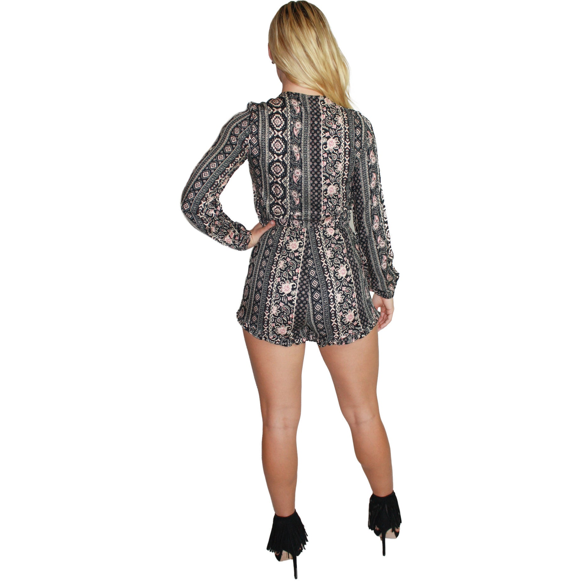 Aztec Tie Romper in Black