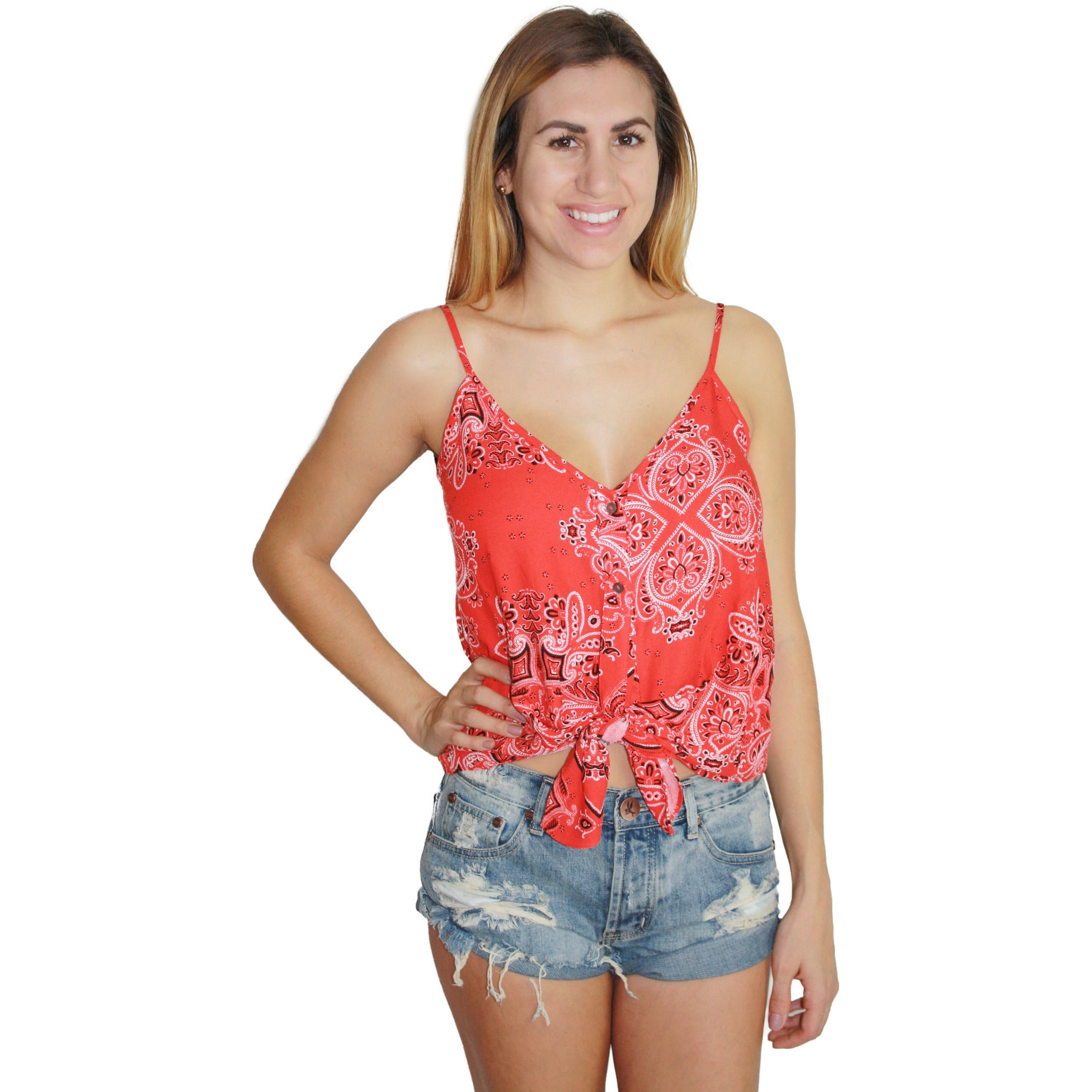 Bandana Tie Tank in Red