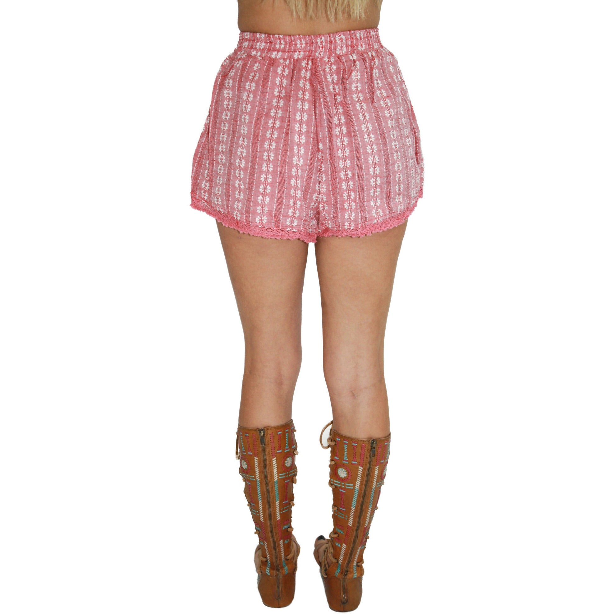 Embroidered Tassle Trim Shorts in Salmon