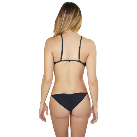 Seashell Keyhole Halter Bikini Top in Black (FINAL SALE)