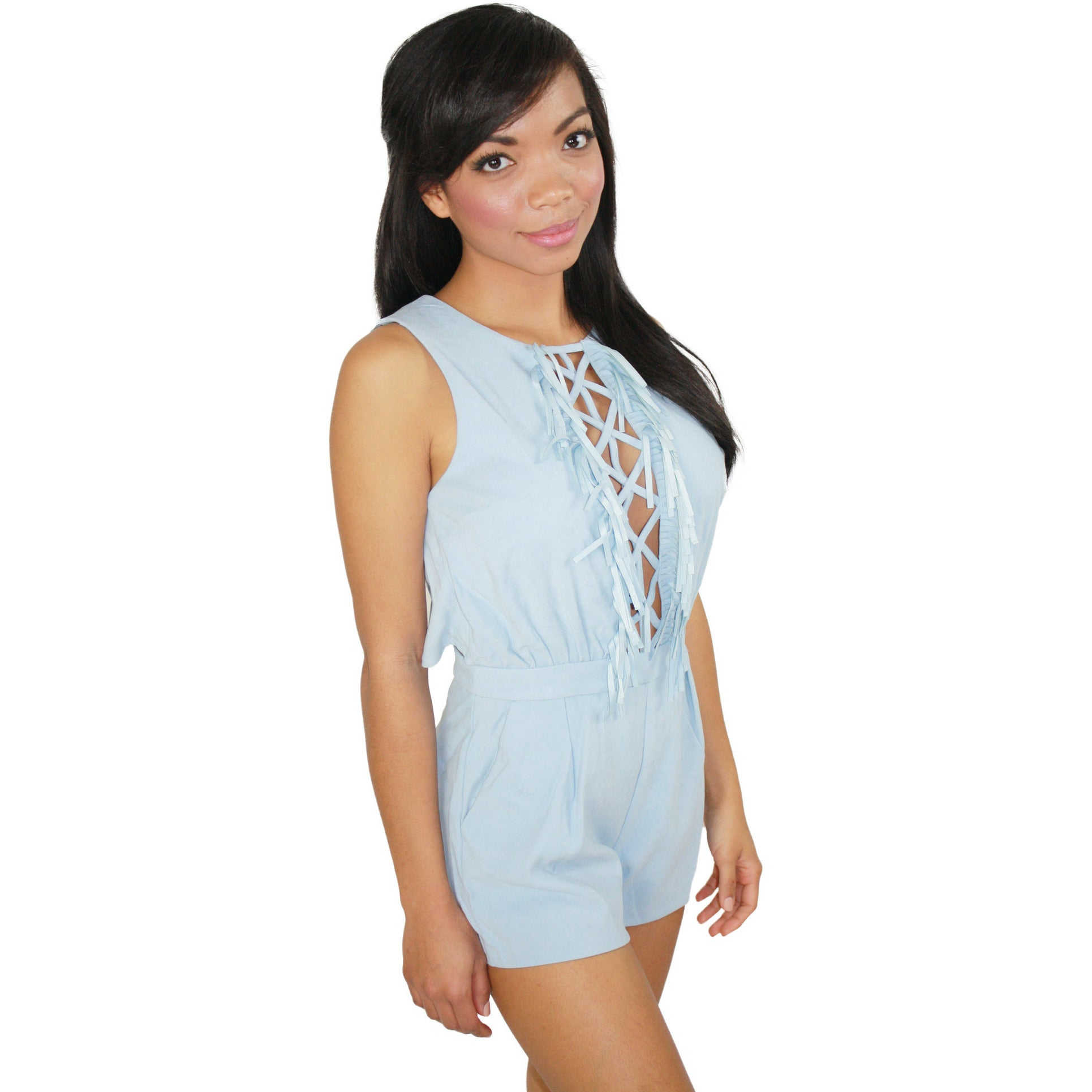 Faux Suede Cross Fringe Romper in Baby Blue