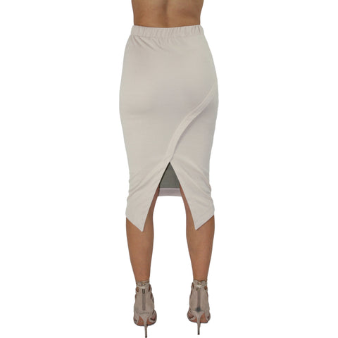 Faux Leather Panel Midi Skirt in Nude