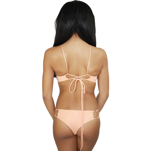 Hapa Lace Up Halter Bikini Top in Light Peach