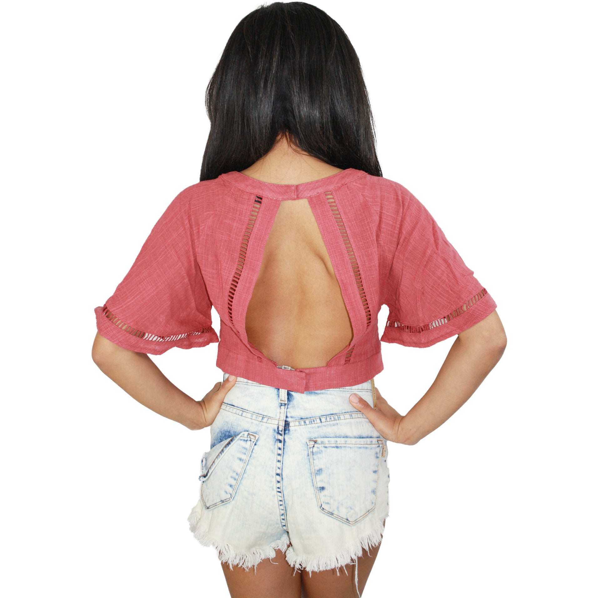 Ladder Trim Woven Crop Top in Marsala