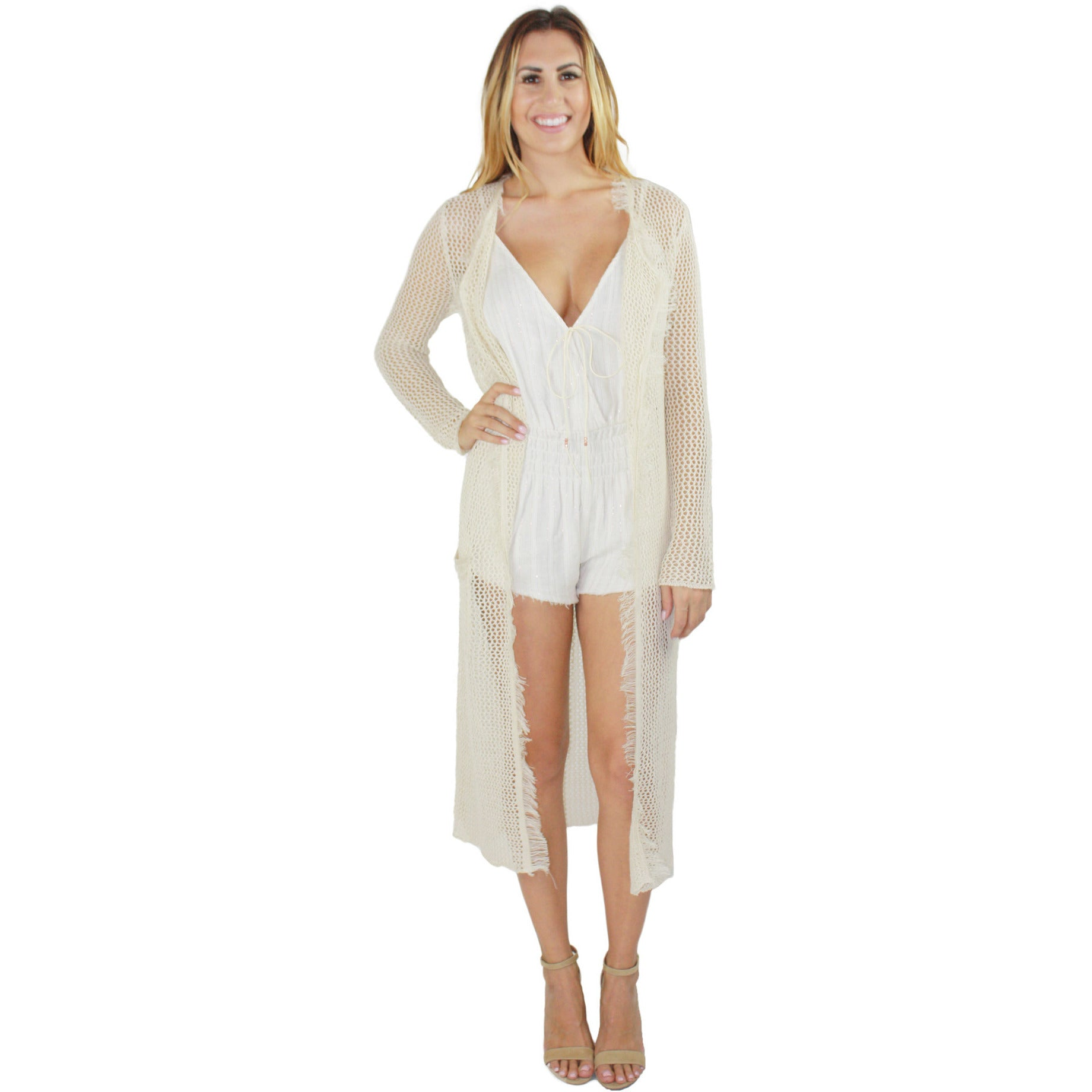 Frayed Duster Cardi in Natural