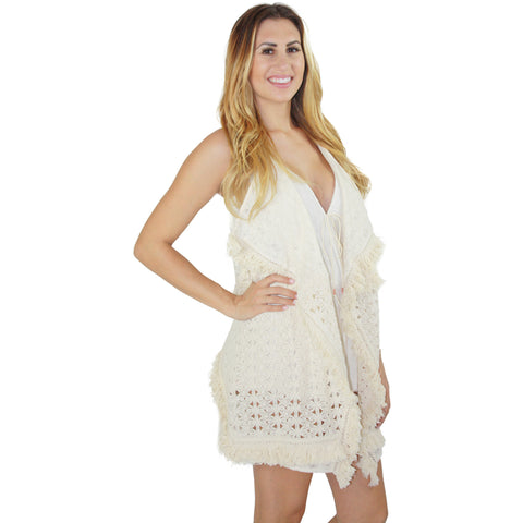 Sleeveless Tassel Trimmed Fringe Cardigan in Natural