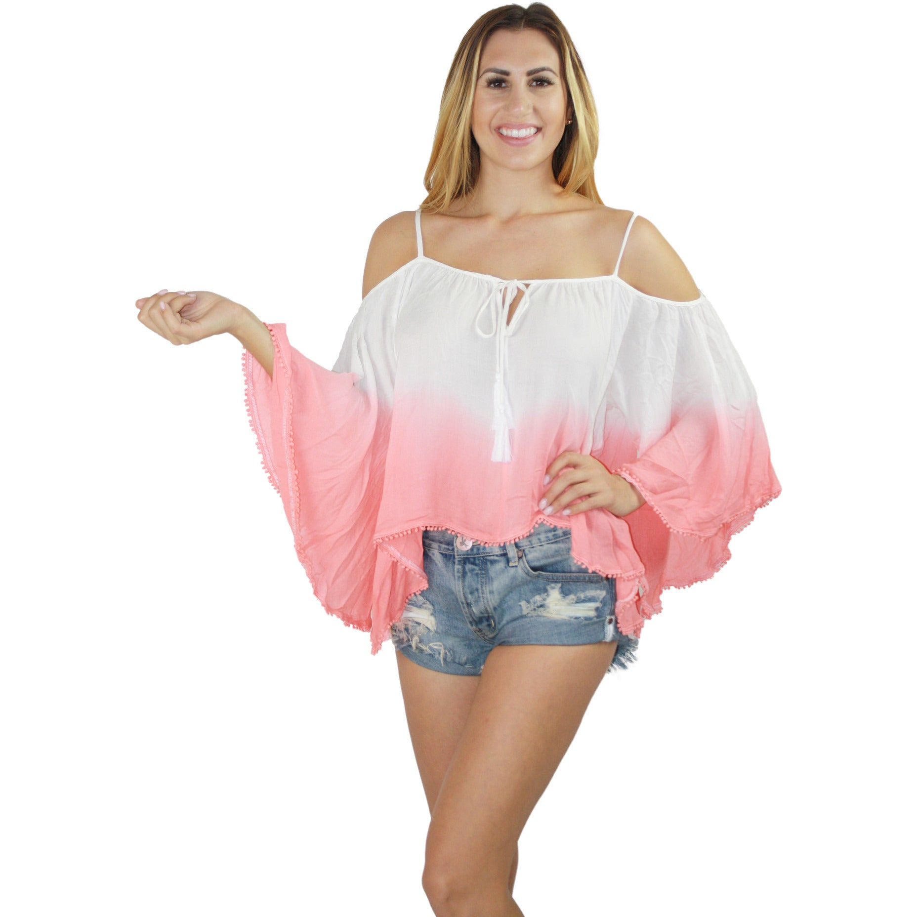 Wanderlust Dip Dye Off Shoulder Top in Coral Ombre