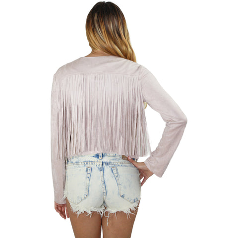 Sandy Fringe Faux Suede Jacket in Rose Blush