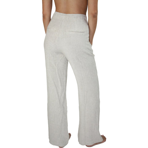 Breezy High Waist Woven Pants in Natural