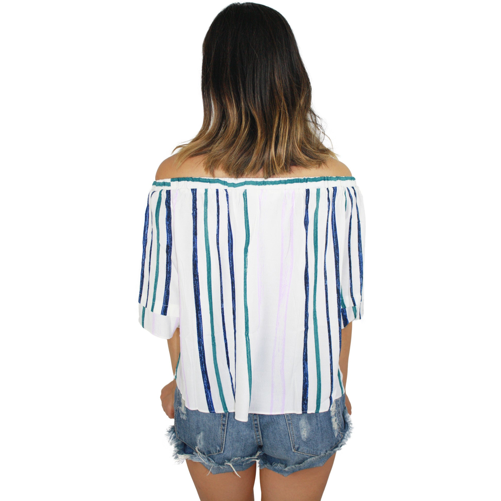 Savannah Off Shoulder Top in White Multi Stripe
