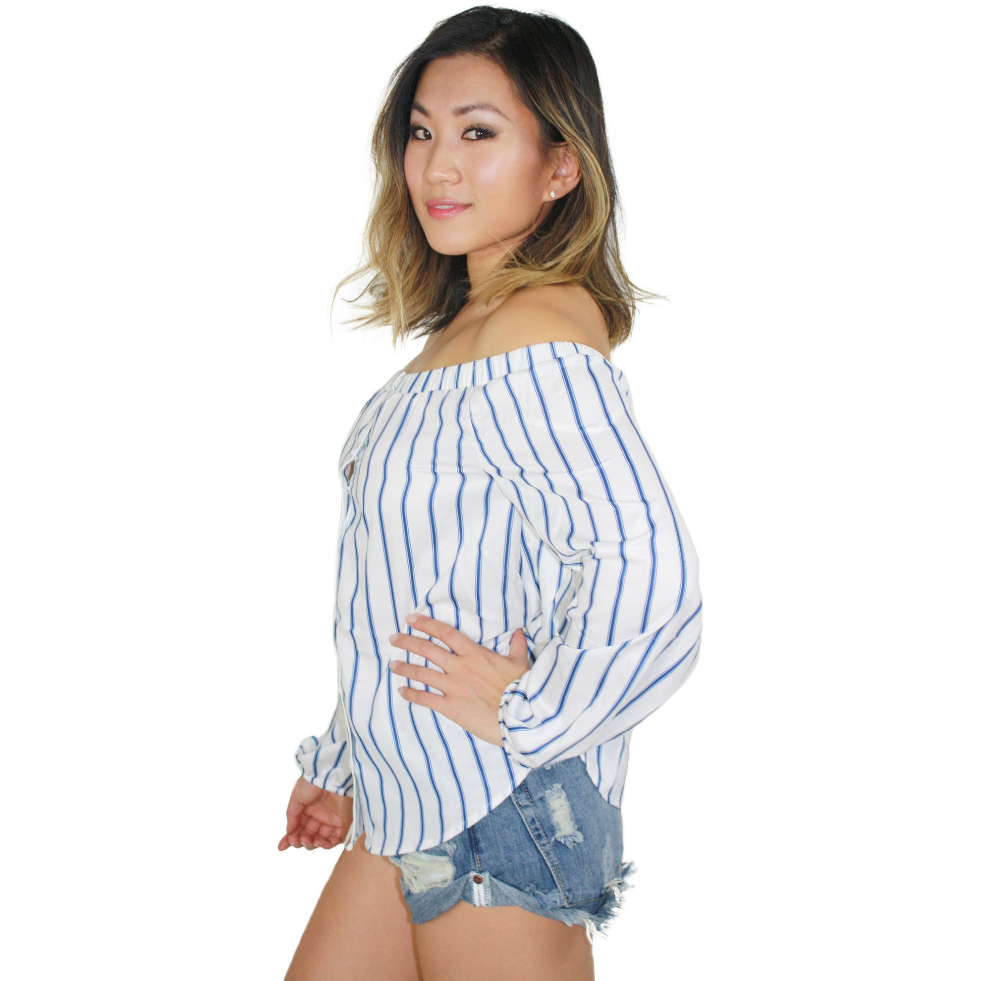 Off The Shoulder Striped Blouse in Blue Stripe