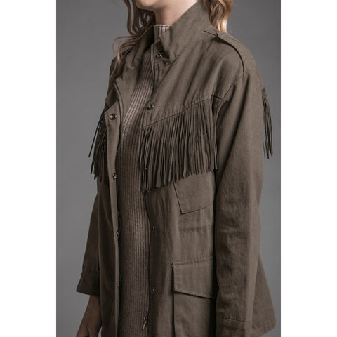 Woven Fringe Jacket in Army Green