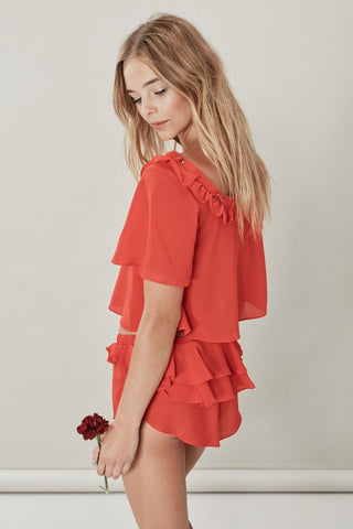 SKIVVIES Little Rosette Sleep Shirt in Red Spice