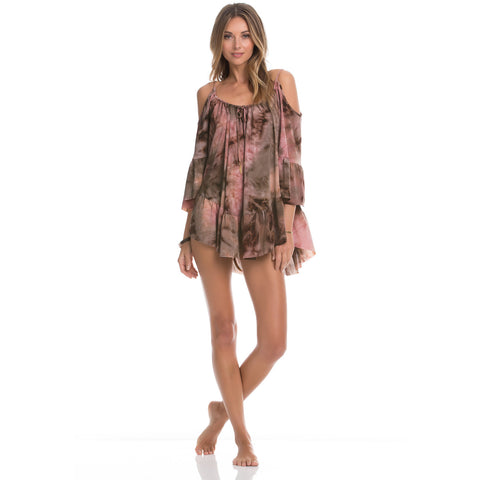 Mother Earth Ruffled Cold Shoulder Dress