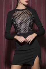 Sana Long Sleeved Dress in Noir
