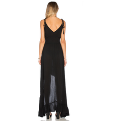 Ruffle Hi Lo Dress in Onyx