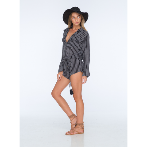 Ironwood Long Sleeved Collared Romper in Black Nobel