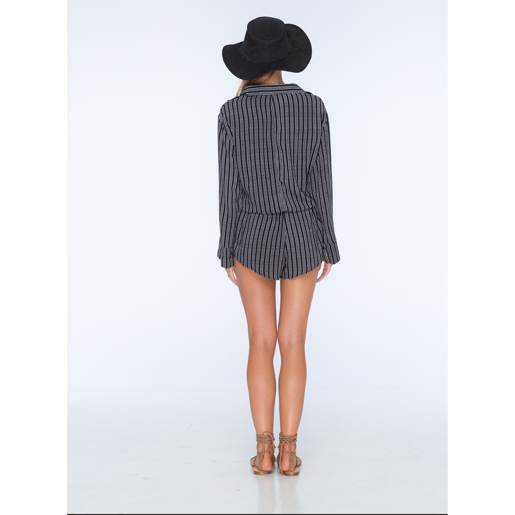02a065a7684 Indah- Ironwood Long Sleeved Collared Romper in Black Nobel – Miss ...