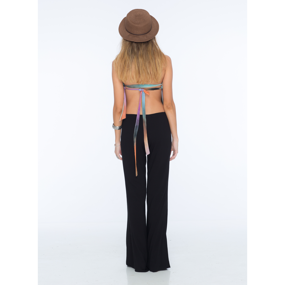 Electric Solid Flat Lace Up Flare Pant in Black